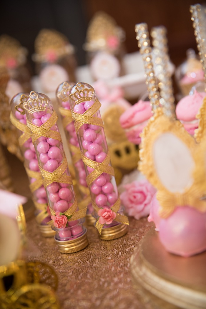 Gold ribbon-wrapped candy favor tubes from a Royal Princess Birthday Party on Kara's Party Ideas | KarasPartyIdeas.com (26)