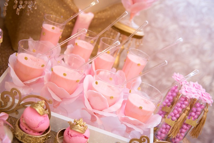 Pink dessert cups from a Royal Princess Birthday Party on Kara's Party Ideas | KarasPartyIdeas.com (22)