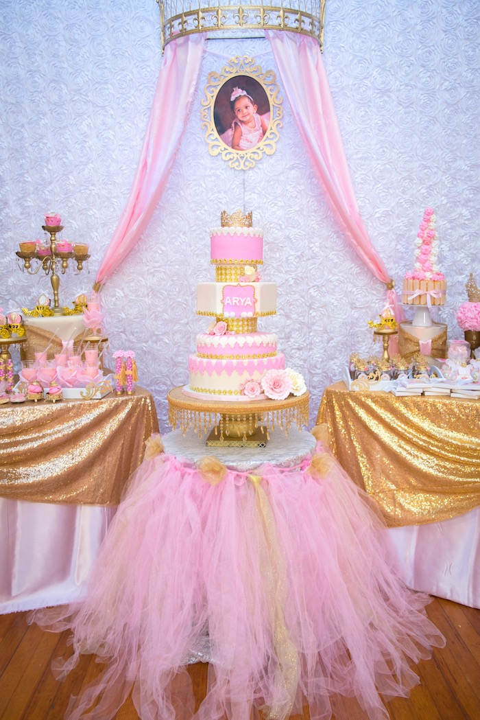 kara u0026 39 s party ideas gold  u0026 pink royal princess birthday