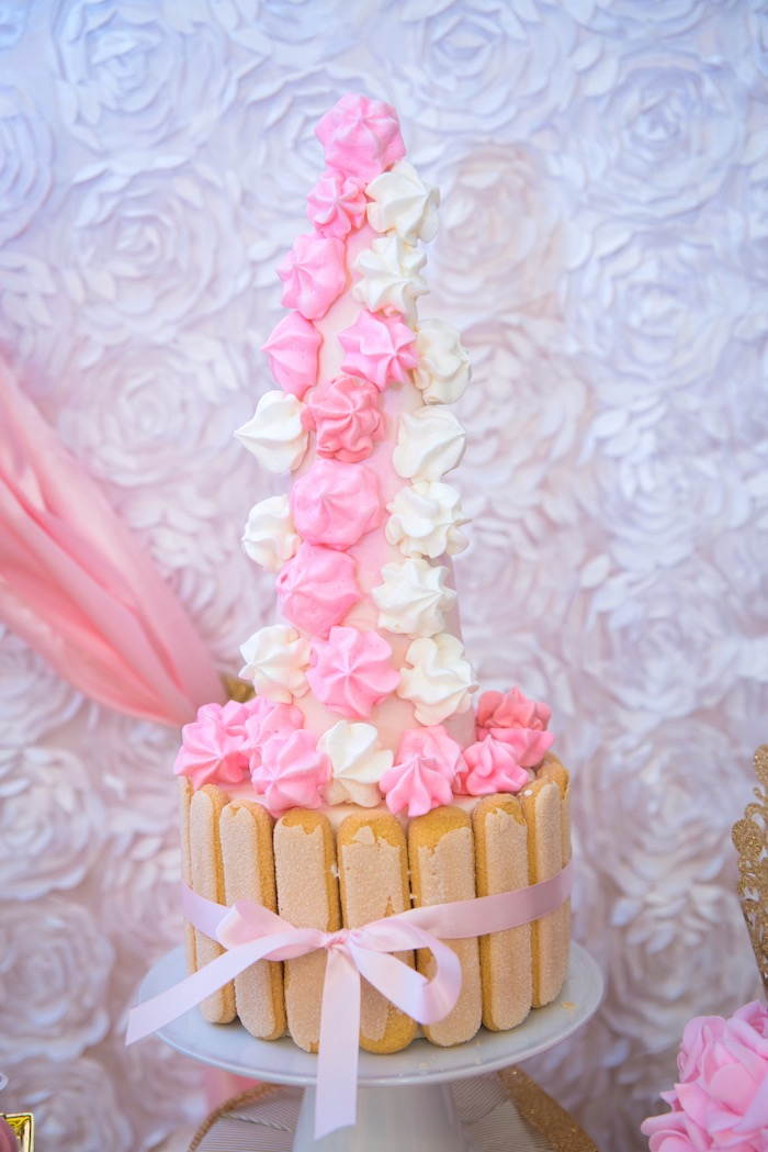 Meringue tower from a Royal Princess Birthday Party on Kara's Party Ideas | KarasPartyIdeas.com (18)