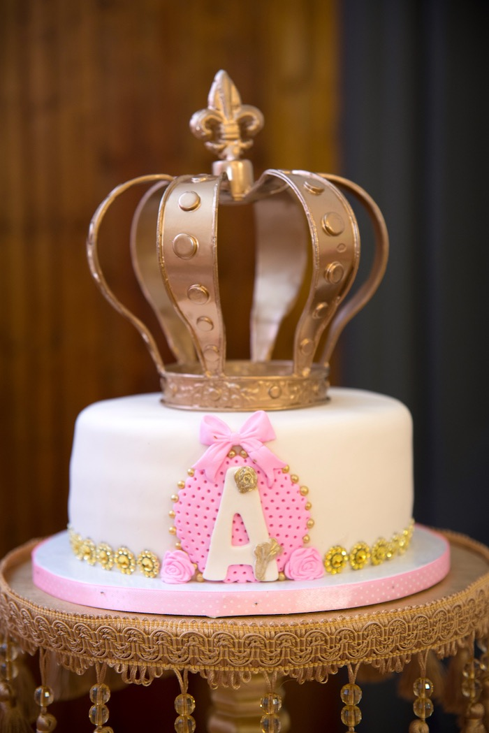 Crown cake from a Royal Princess Birthday Party on Kara's Party Ideas | KarasPartyIdeas.com (16)