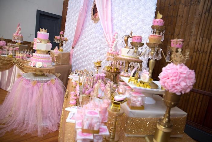 dessert table from a royal princess birthday party on karas party ideas karaspartyideascom