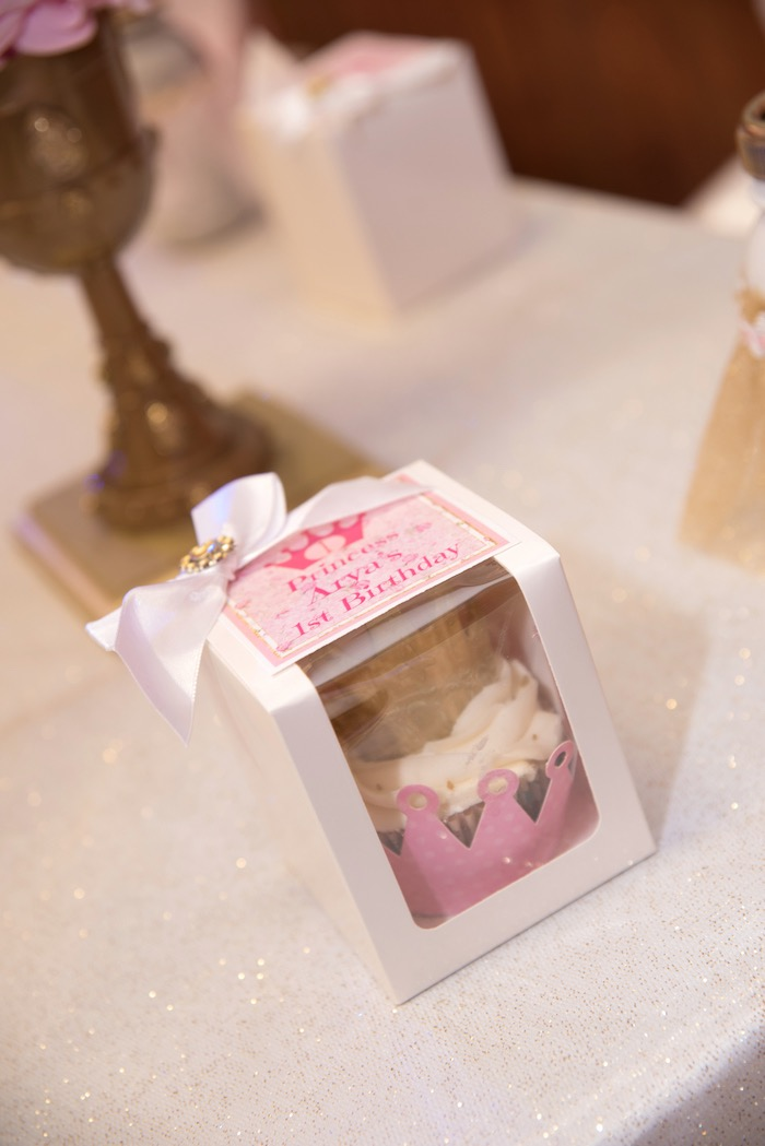 Crown cupcake favor box from a Royal Princess Birthday Party on Kara's Party Ideas | KarasPartyIdeas.com (8)