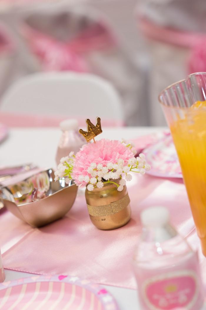 Floral centerpiece from a Royal Princess Birthday Party on Kara's Party Ideas | KarasPartyIdeas.com (34)
