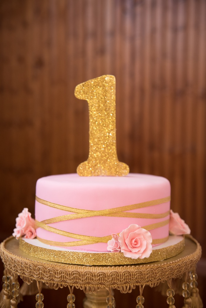 Pink & gold flower cake from a Royal Princess Birthday Party on Kara's Party Ideas | KarasPartyIdeas.com (29)