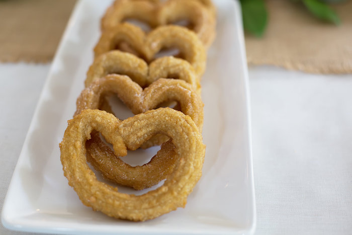 Heart-shaped churros from a Rustic Floral Bridal Shower on Kara's Party Ideas | KarasPartyIdeas.com (25)
