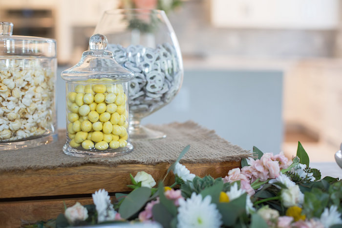 snack and candy buffet from a rustic floral bridal shower on karas party ideas karaspartyideas