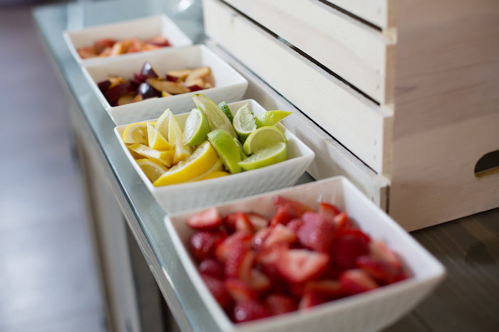 Fresh fruit to flavor drinks from a Rustic Floral Bridal Shower on Kara's Party Ideas | KarasPartyIdeas.com (23)