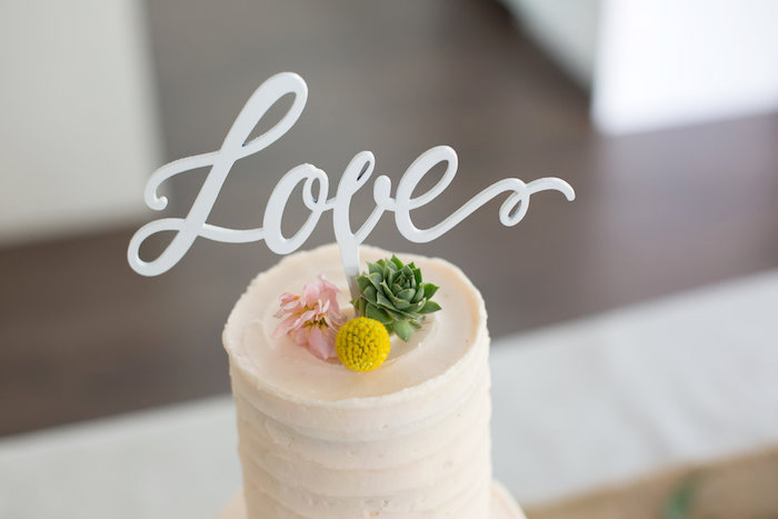 "Blush pink cake with ""Love"" topper from a Rustic Floral Bridal Shower on Kara's Party Ideas 