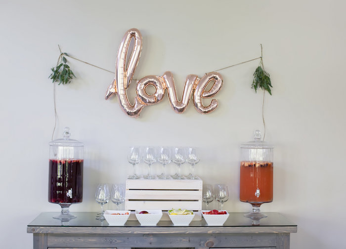 Drink + sangria bar from a Rustic Floral Bridal Shower on Kara's Party Ideas | KarasPartyIdeas.com (15)