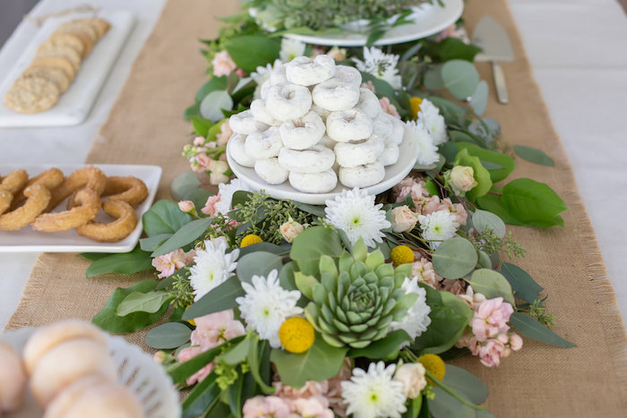 Gorgeous floral runner from a Gorgeous green and floral runner from a Rustic Floral Bridal Shower on Kara's Party Ideas | KarasPartyIdeas.com (14)
