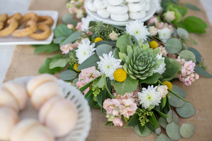 Gorgeous green and floral runner from a Rustic Floral Bridal Shower on Kara's Party Ideas | KarasPartyIdeas.com (13)