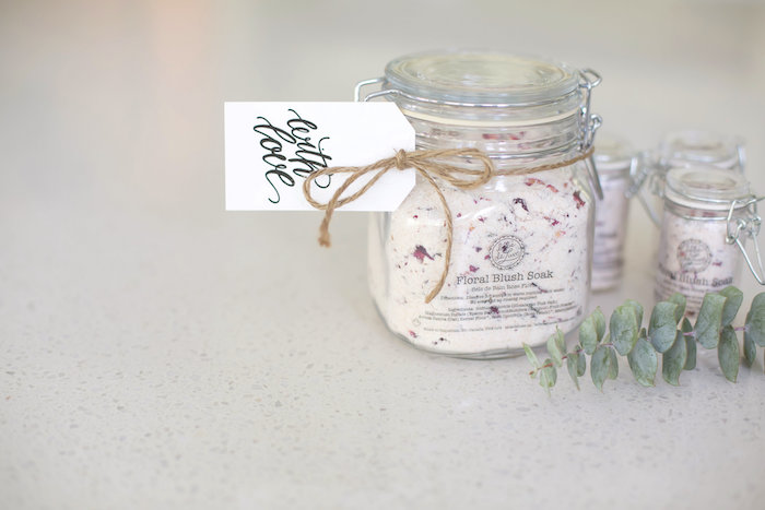 Floral Blush Soak favor jar from a Rustic Floral Bridal Shower on Kara's Party Ideas | KarasPartyIdeas.com (8)