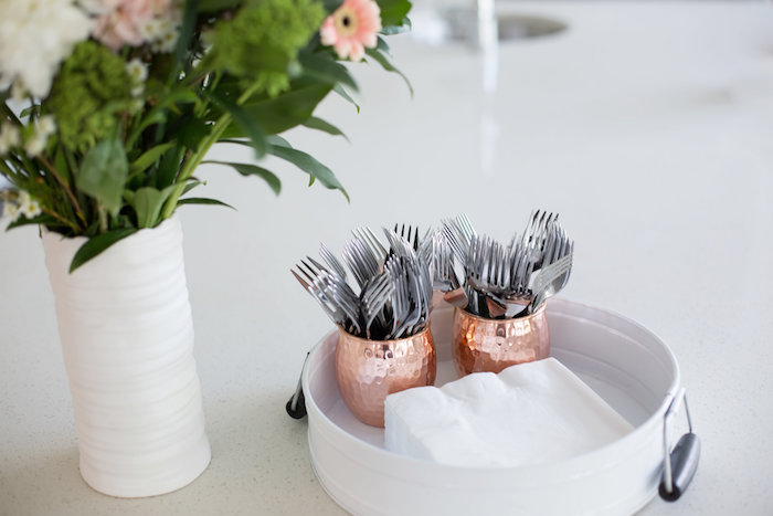 Utensil & napkin tray from a Rustic Floral Bridal Shower on Kara's Party Ideas | KarasPartyIdeas.com (6)