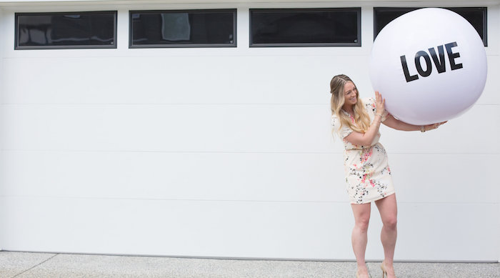 "Giant inflatable ""love"" ball from a Rustic Floral Bridal Shower on Kara's Party Ideas 