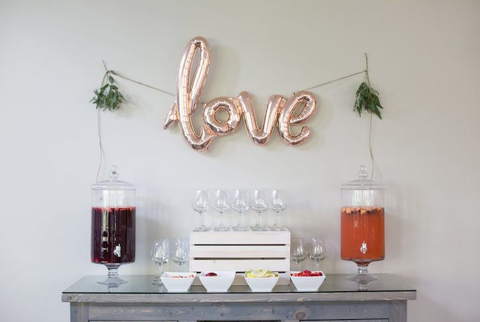 Drink bar + table from a Rustic Floral Bridal Shower on Kara's Party Ideas | KarasPartyIdeas.com (31)
