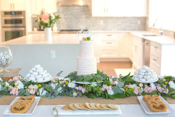 Dessert table from a Rustic Floral Bridal Shower on Kara's Party Ideas | KarasPartyIdeas.com (30)