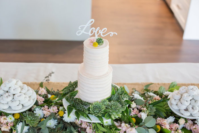 Gorgeous cake and floral green runner from a Rustic Floral Bridal Shower on Kara's Party Ideas | KarasPartyIdeas.com (29)