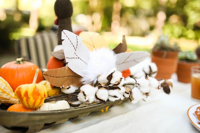 Kara s party ideas backside of a turkey table centerpiece