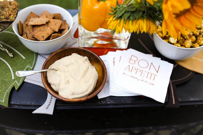 Kara's Party Ideas Hummus & Bon Appetit Napkins From A