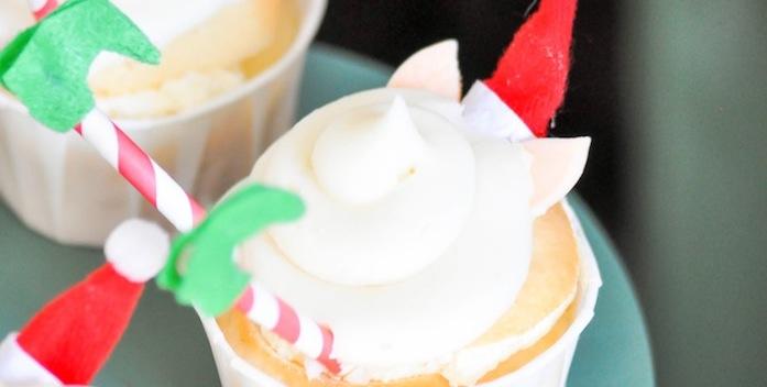Elf in snowball cupcakes recipe by Kara's Party Ideas | Kara Allen for Oriental Trading