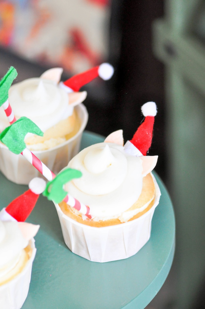 Elf in snowball cupcakes recipe by Kara's Party Ideas | Kara Allen for Oriental Trading