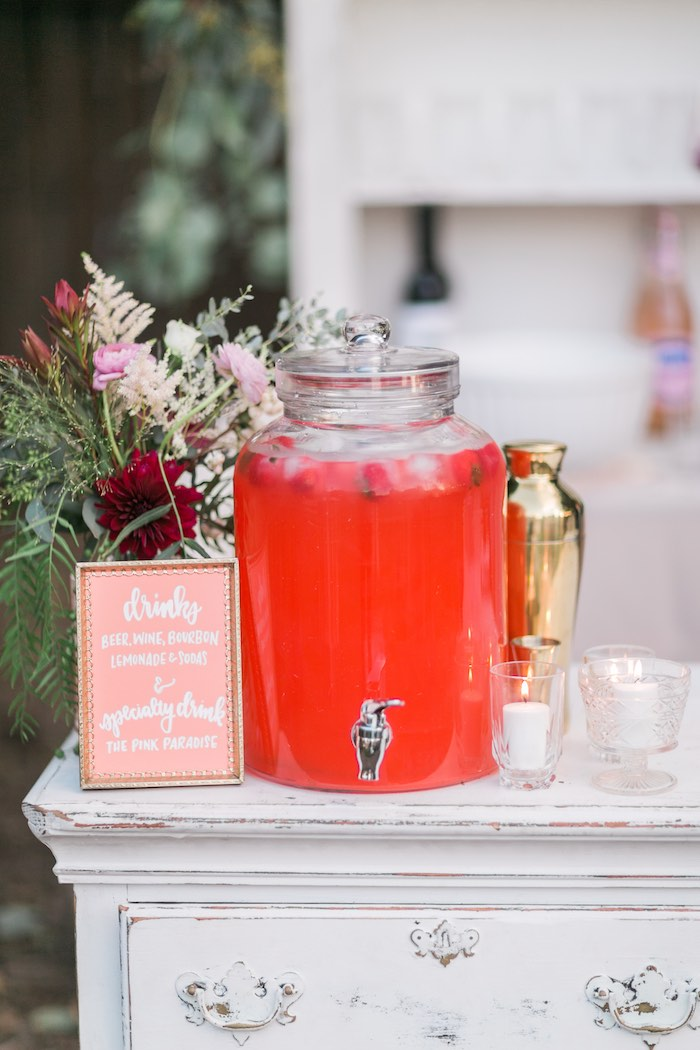 Beverage table from a Sparkly 30th Birthday Bash on Kara's Party Ideas | KarasPartyIdeas.com (57)