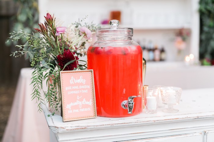 Beverage table from a Sparkly 30th Birthday Bash on Kara's Party Ideas | KarasPartyIdeas.com (50)