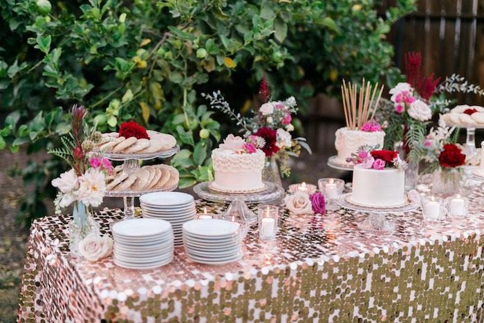 Cake table from a Sparkly 30th Birthday Bash on Kara's Party Ideas   KarasPartyIdeas.com (40)