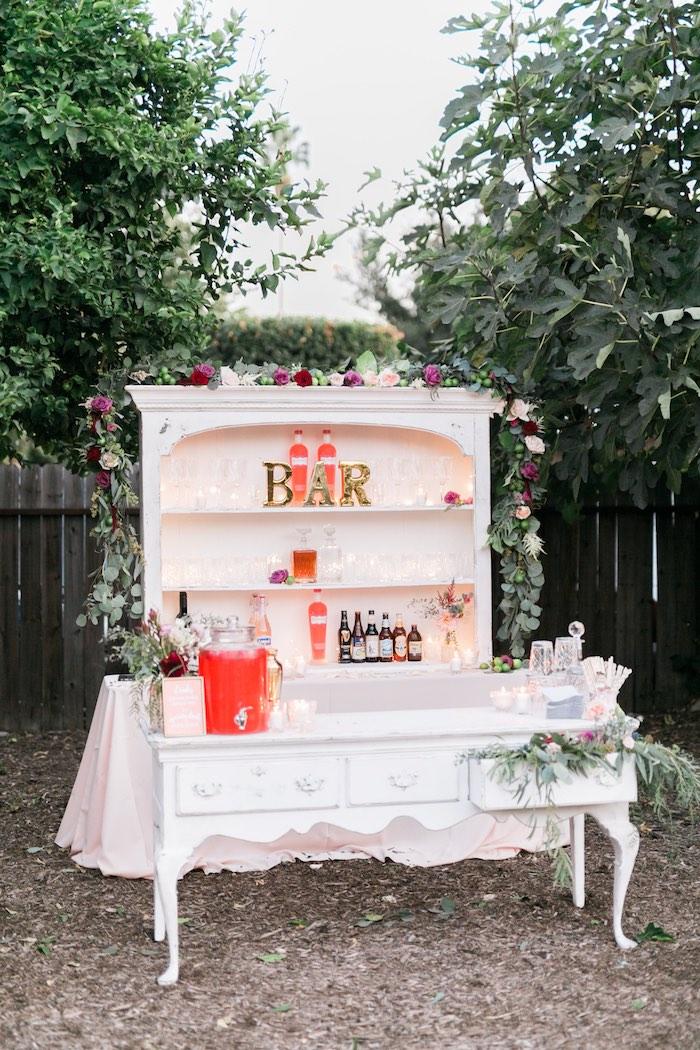 Drink bar from aSparkly 30th Birthday Bash on Kara's Party Ideas   KarasPartyIdeas.com (33)