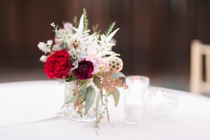 Floral centerpiece from a Sparkly 30th Birthday Bash on Kara's Party Ideas   KarasPartyIdeas.com (27)