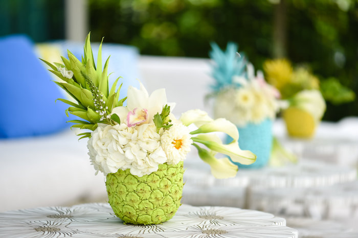 Pineapple floral centerpiece from a Surf's Up Beach Birthday Party on Kara's Party Ideas | KarasPartyIdeas.com (39)