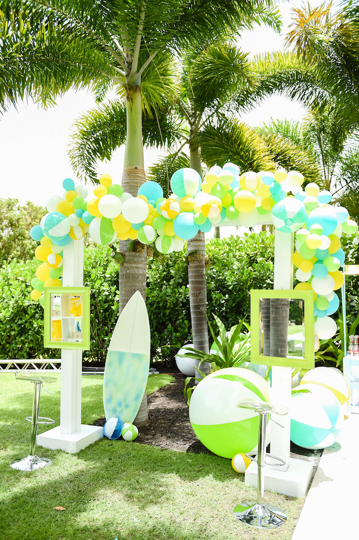Beach-inspired photo booth from a Surf's Up Beach Birthday Party on Kara's Party Ideas | KarasPartyIdeas.com (38)