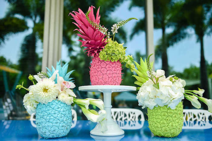 Floral pineapple centerpieces from a Surf's Up Beach Birthday Party on Kara's Party Ideas | KarasPartyIdeas.com (37)