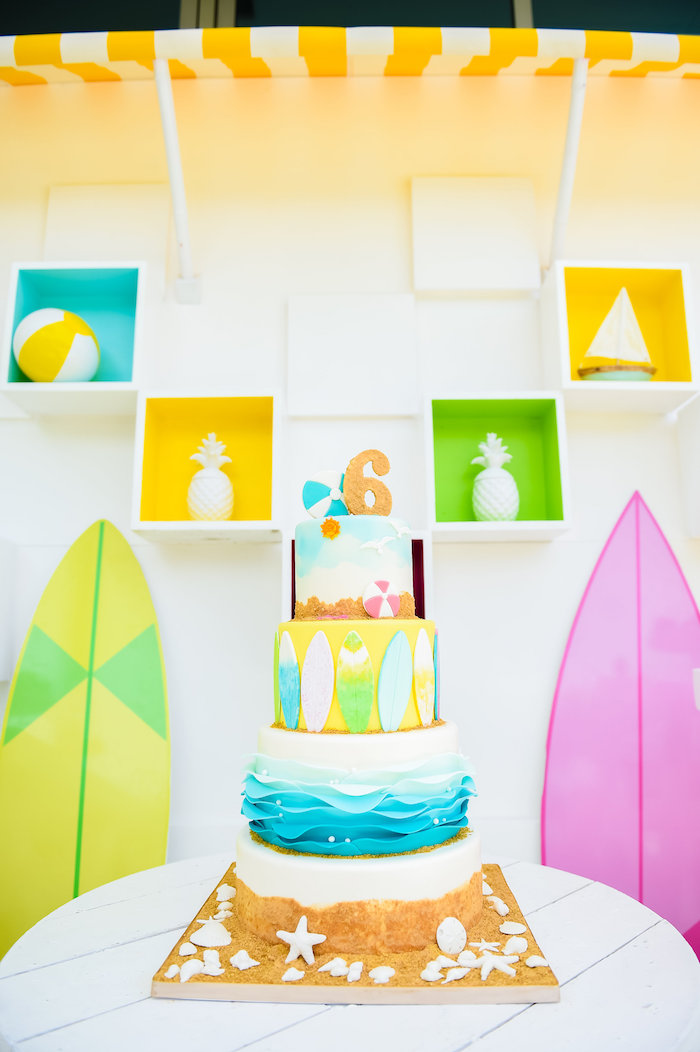 Adorable beach cake from a Surf's Up Beach Birthday Party on Kara's Party Ideas | KarasPartyIdeas.com (34)