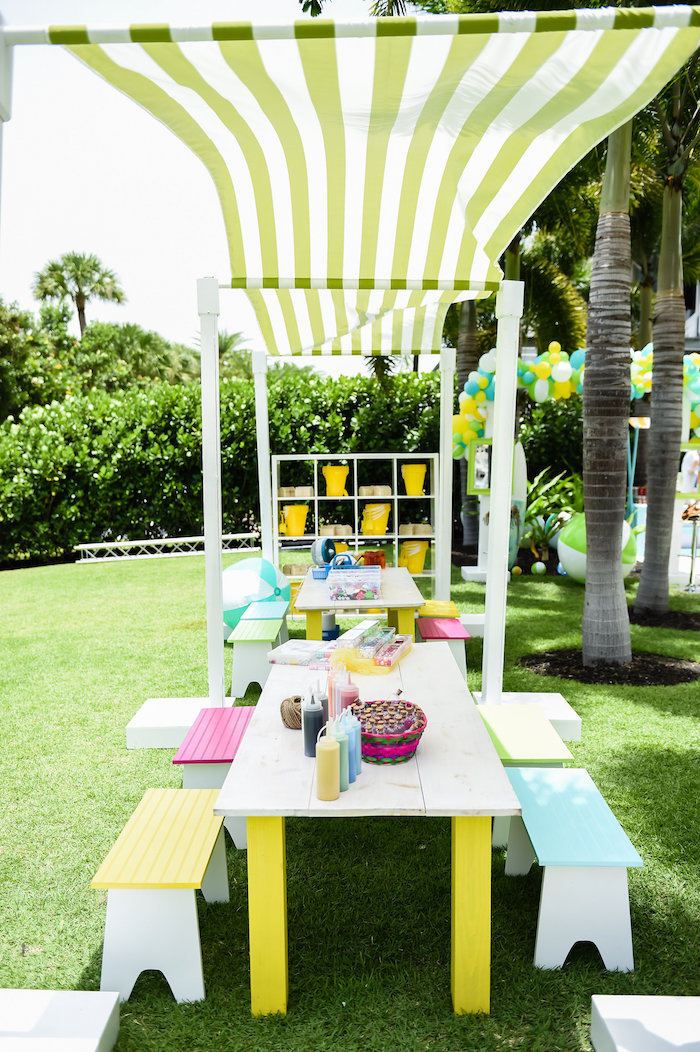 Party + craft tables from a Surf's Up Beach Birthday Party on Kara's Party Ideas | KarasPartyIdeas.com (28)