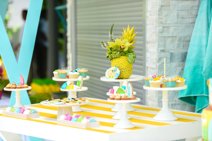 Sweet table from a Surf's Up Beach Birthday Party on Kara's Party Ideas | KarasPartyIdeas.com (25)