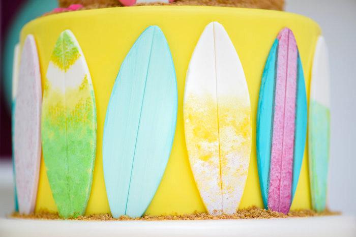 Surfboard cake detail from a Surf's Up Beach Birthday Party on Kara's Party Ideas | KarasPartyIdeas.com (18)