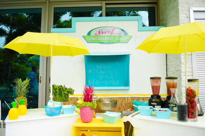 Longboard shop beverage bar from a Surf's Up Beach Birthday Party on Kara's Party Ideas | KarasPartyIdeas.com (17)