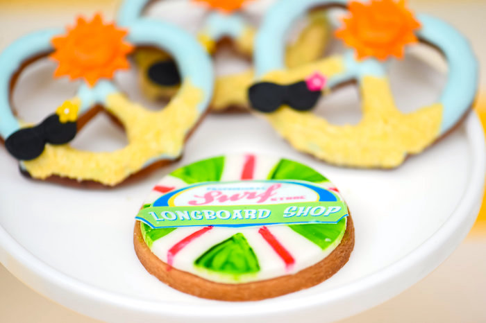 Longboard shop cookie from a Surf's Up Beach Birthday Party on Kara's Party Ideas | KarasPartyIdeas.com (10)