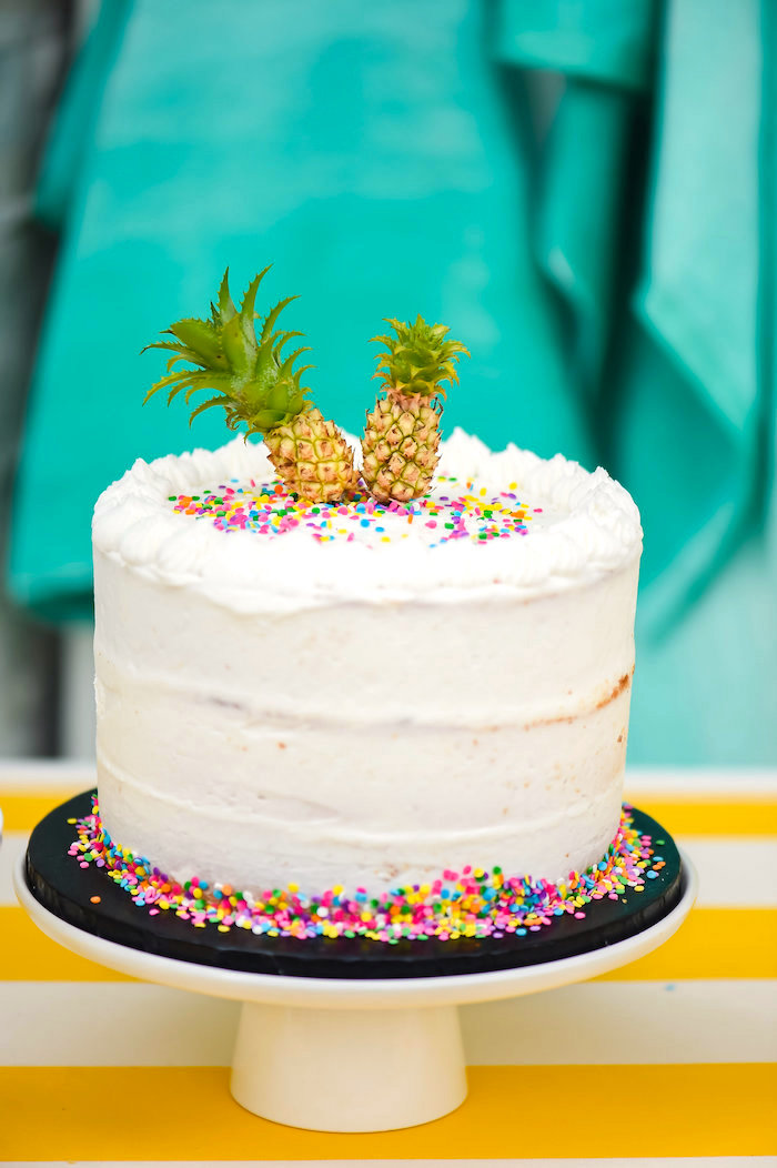 Buttercream cake with pineapple toppers from a Surf's Up Beach Birthday Party on Kara's Party Ideas | KarasPartyIdeas.com (7)