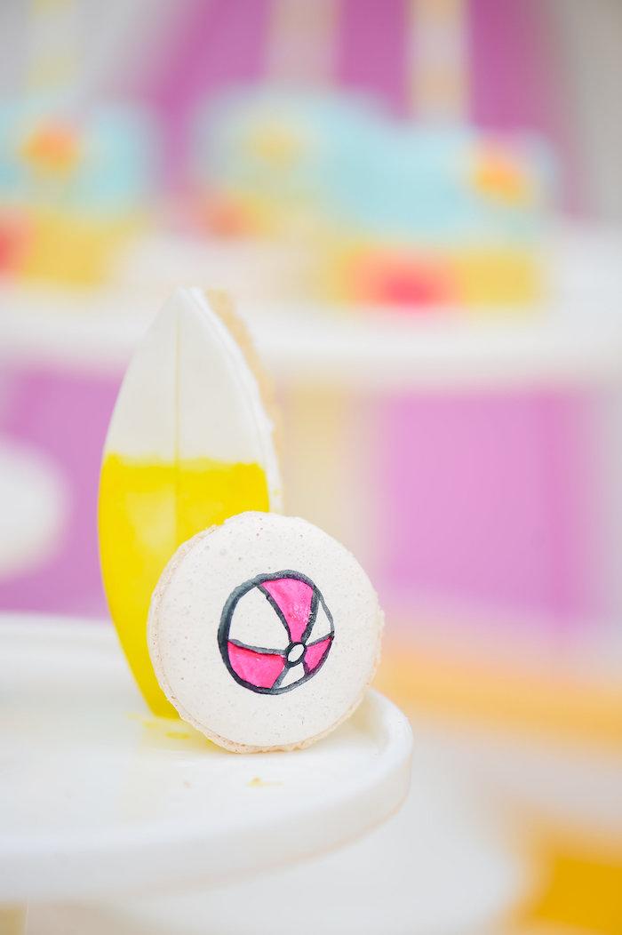 Beach ball macaron from a Surf's Up Beach Birthday Party on Kara's Party Ideas | KarasPartyIdeas.com (6)