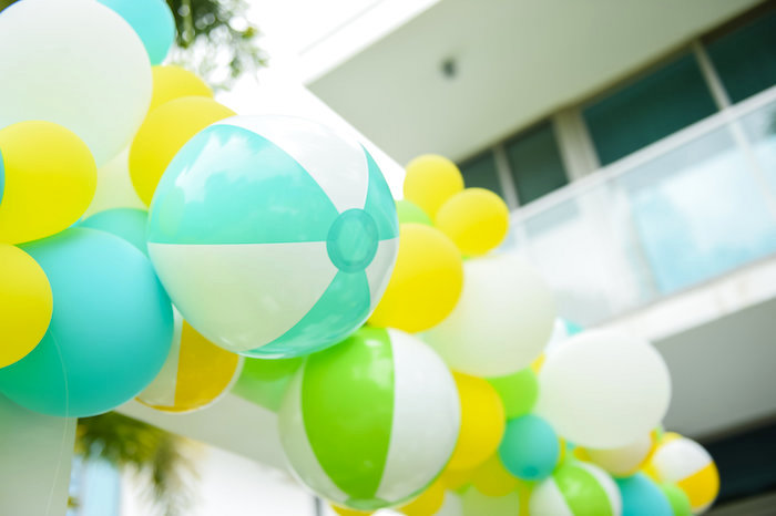 Beach ball balloon arch from a Surf's Up Beach Birthday Party on Kara's Party Ideas | KarasPartyIdeas.com (5)