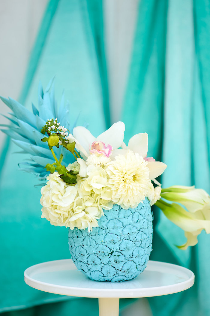 Floral pineapple from a Surf's Up Beach Birthday Party on Kara's Party Ideas | KarasPartyIdeas.com (45)