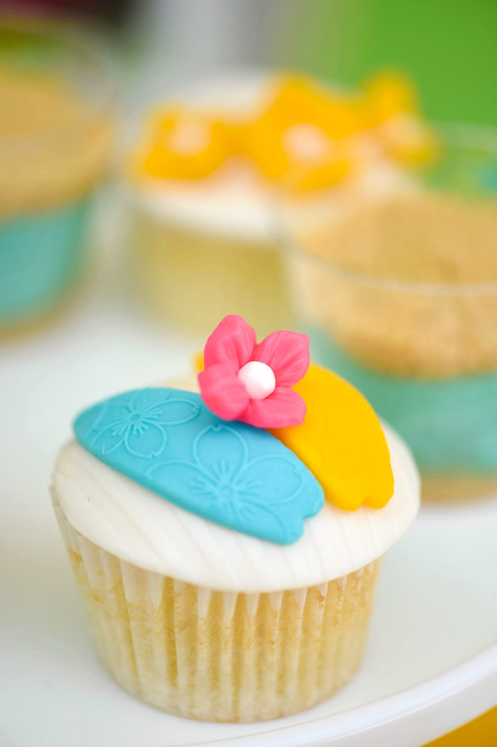 Surfboard cupcake from a Surf's Up Beach Birthday Party on Kara's Party Ideas | KarasPartyIdeas.com (42)