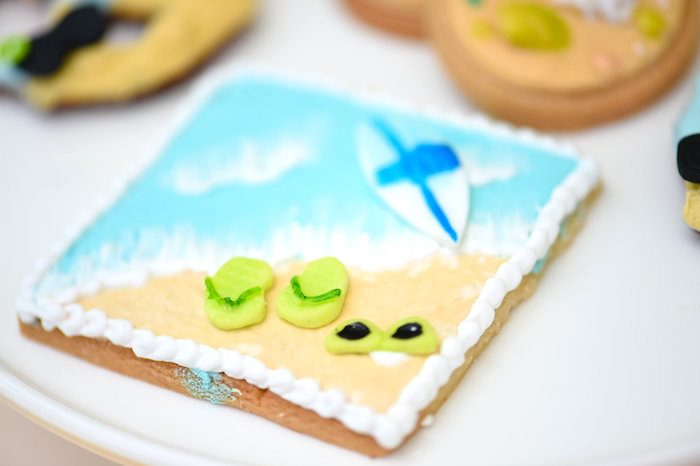 Beach cookie from a Surf's Up Beach Birthday Party on Kara's Party Ideas | KarasPartyIdeas.com (41)