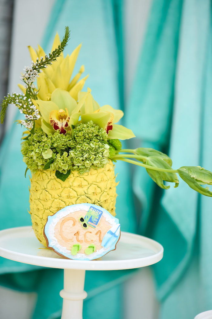 Painted floral pineapple from Surf's Up Beach Birthday Party on Kara's Party Ideas | KarasPartyIdeas.com (40)