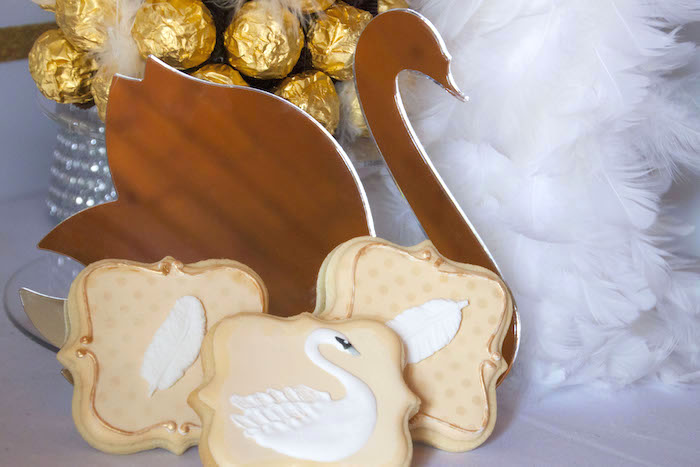 Swan mirror and cookies from a Swan Soiree Birthday Party on Kara's Party Ideas   KarasPartyIdeas.com (13)