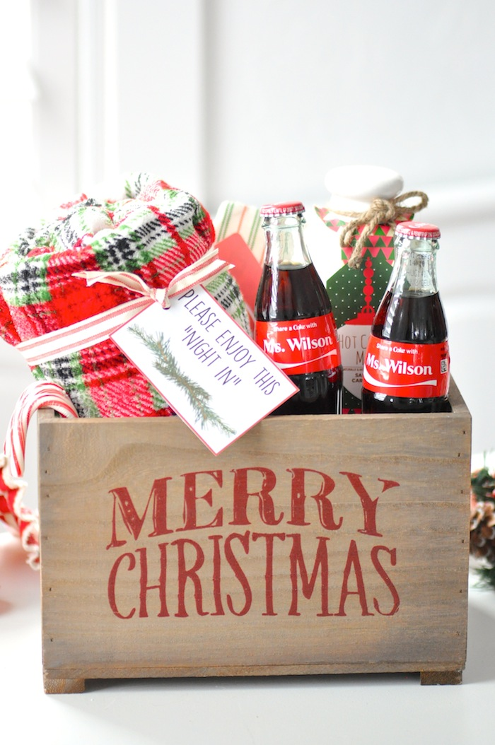 Teacher appreciation Christmas Holiday gift idea! Night in with share a coke by Kara's Party Ideas