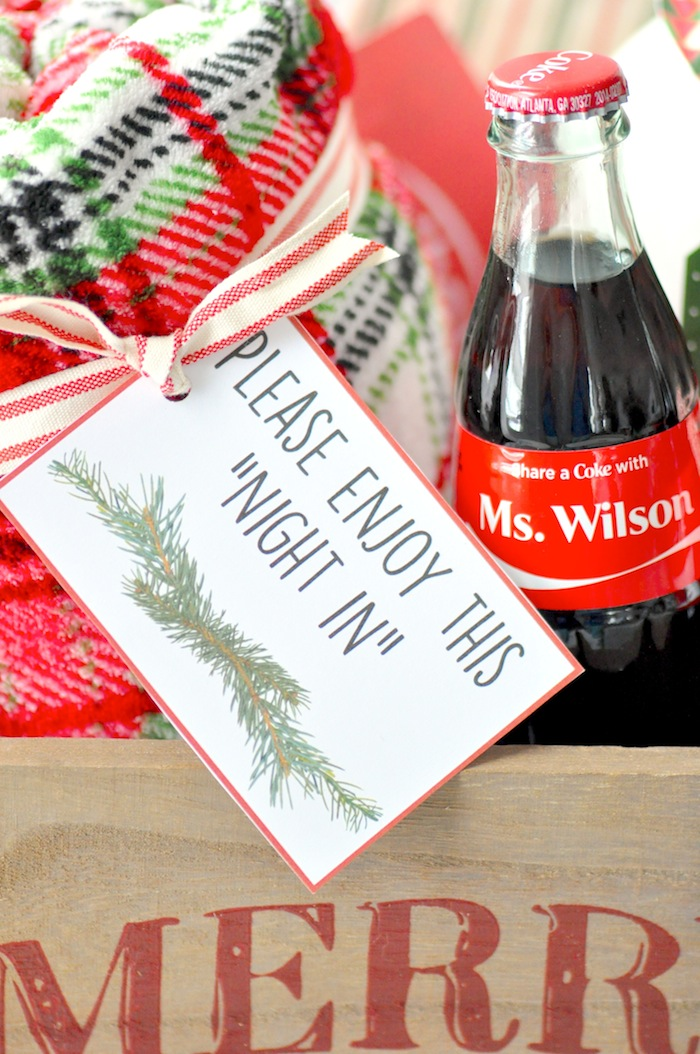 Teacher appreciation Christmas Holiday gift idea! Night in with share a  coke by Kara's Party - Kara's Party Ideas Teacher Christmas Gift Idea + Giveaway + FREE